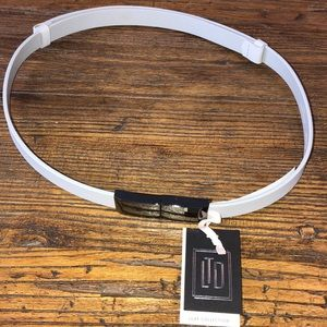 NWT The Limited Luxe Collection leather belt gray